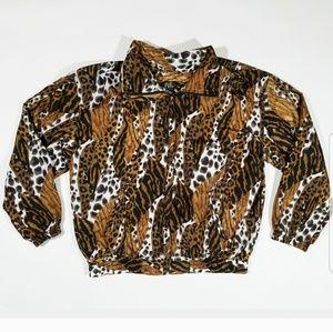 Vintage Cheetah Leopard Animal EVR Windbreaker 90s